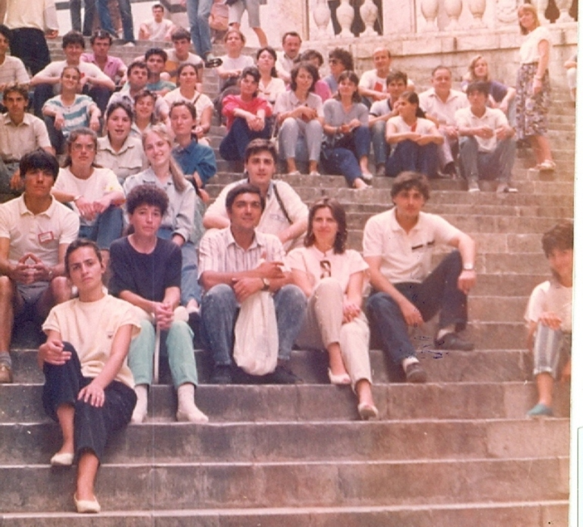 CORISTII BISERICII CRESTINE DUPA EVANGHELIE DRAGOS VODA LA PLIMBARE PRIN SIENA IN ITALIA - AUGUST 1990