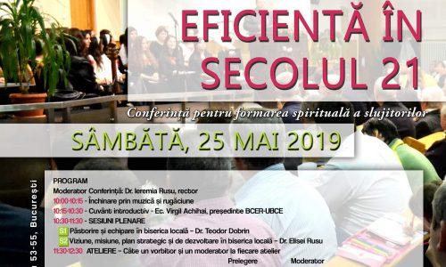 CONFERINȚĂ PENTRU FORMAREA SPIRITUALĂ A SLUJITORILOR 25 MAI 2019