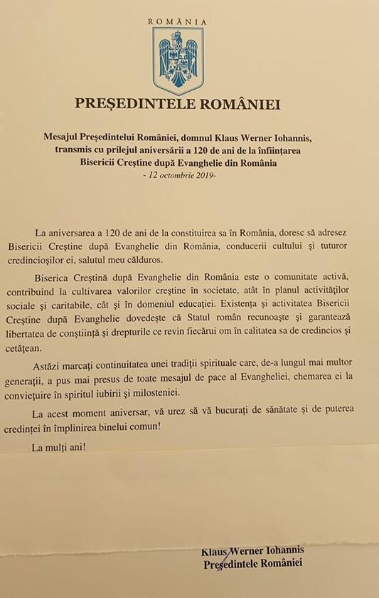 KLAUS IOHANNIS FELICITA OFICIAL BISERICA CRESTINA DUPA EVANGHELIE CU OCAZIA IMPLINIRII CELOR 120 DE ANI DE EXISTENTA IN ROMANIA
