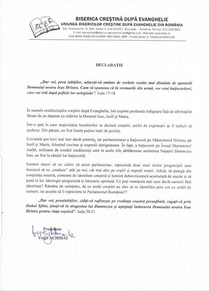 DECLARATIE PROTEST FATA DE AFIRMATIILE DEPUTATULUI USR IULIAN BULAI DESPRE DOMNUL HRISTOS SI PARINTII SAI PAMANTESTI