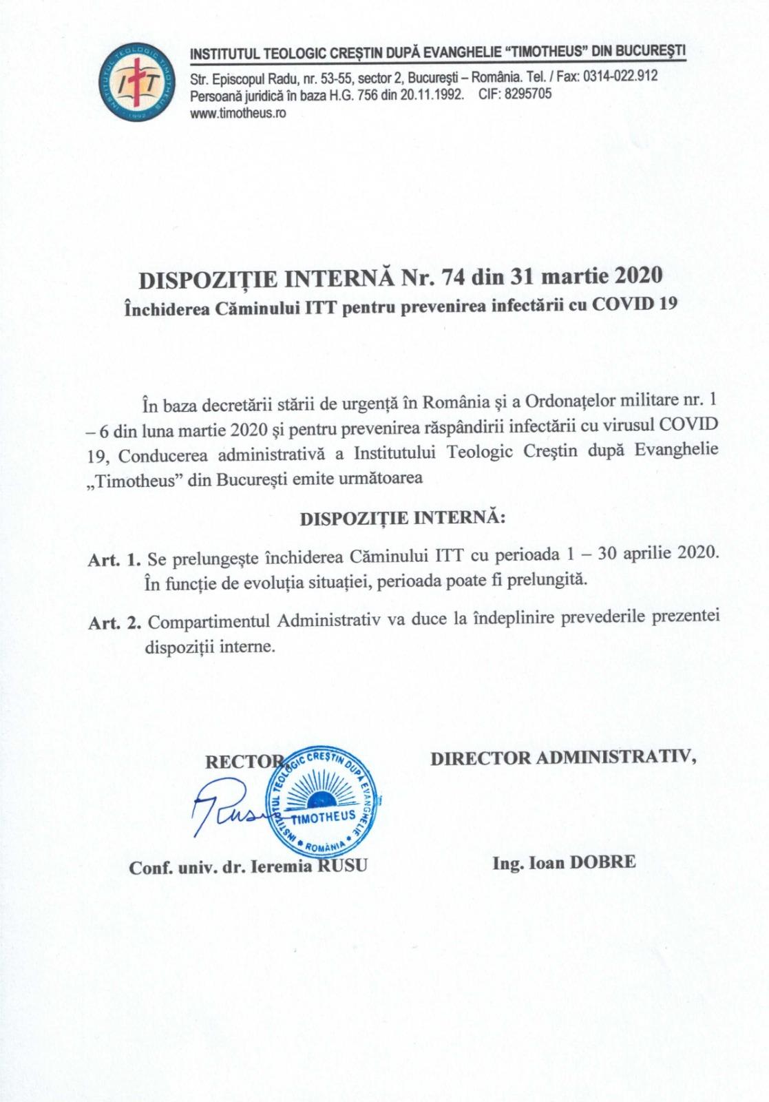 DISPOZITIE INTERNA INCHIDERE CAMIN STUDENTESC ITT PREVENIRE INFECTIE COVID19
