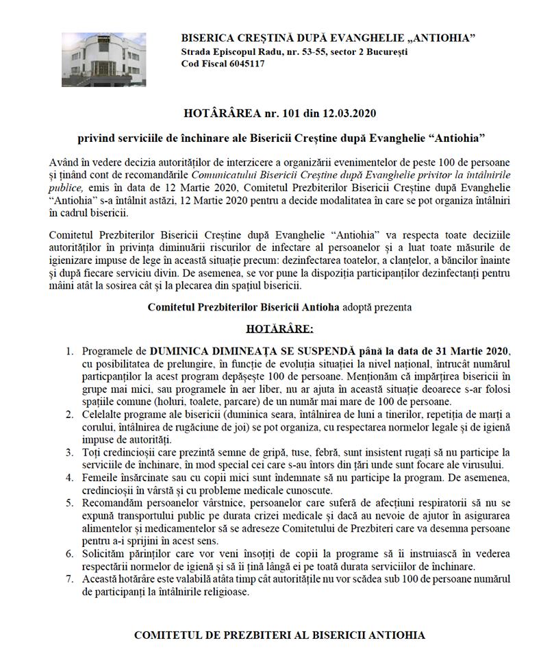 HOTARARE BISERICA ANTIOHIA RESPECTARE DISPOZITIE AUTORITATI PREVENIRE EXTINDERE CORONAVIRUS