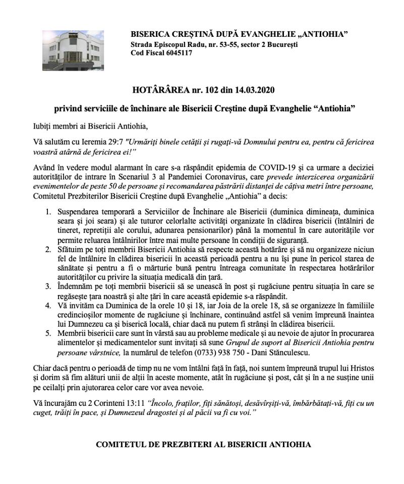 HOTARARE INTRERUPERE TEMPORARA SERVICII INCHINARE BISERICA ANTIOHIA BUCURESTI DATORITA PANDEMIEI CORONAVIRUS