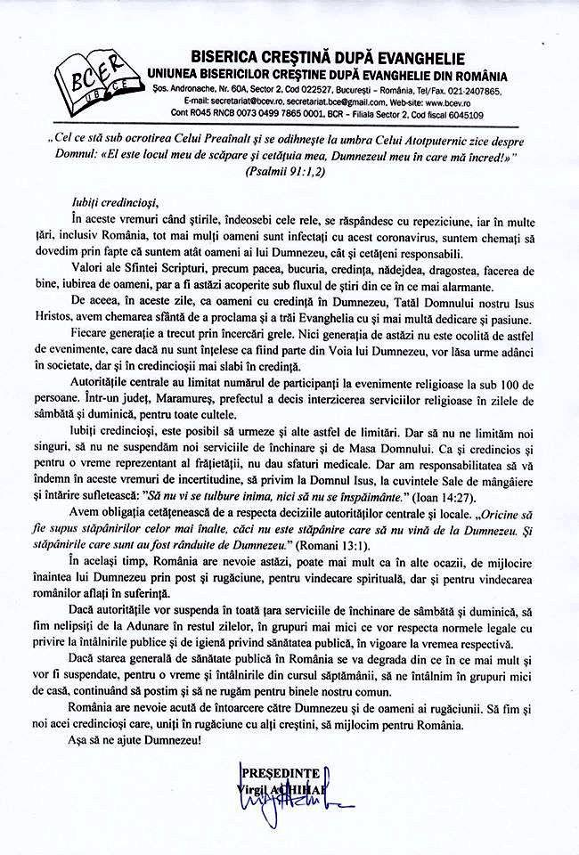 Presedintele Virgil Achihai cere credinciosilor sa respecte interdictia de intrunire in numar mai mare de 100 credinciosi in Biserica