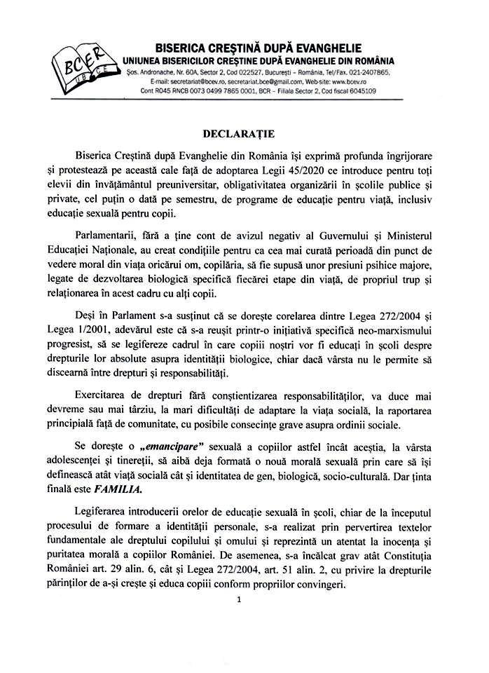 BISERICA CRESTINA DUPA EVANGHELIE - DECLARATIE PROTEST DESPRE IMPUNEREA EDUCATIEI SEXUALE PENTRU COPII IN SCOLI (PARTEA I)