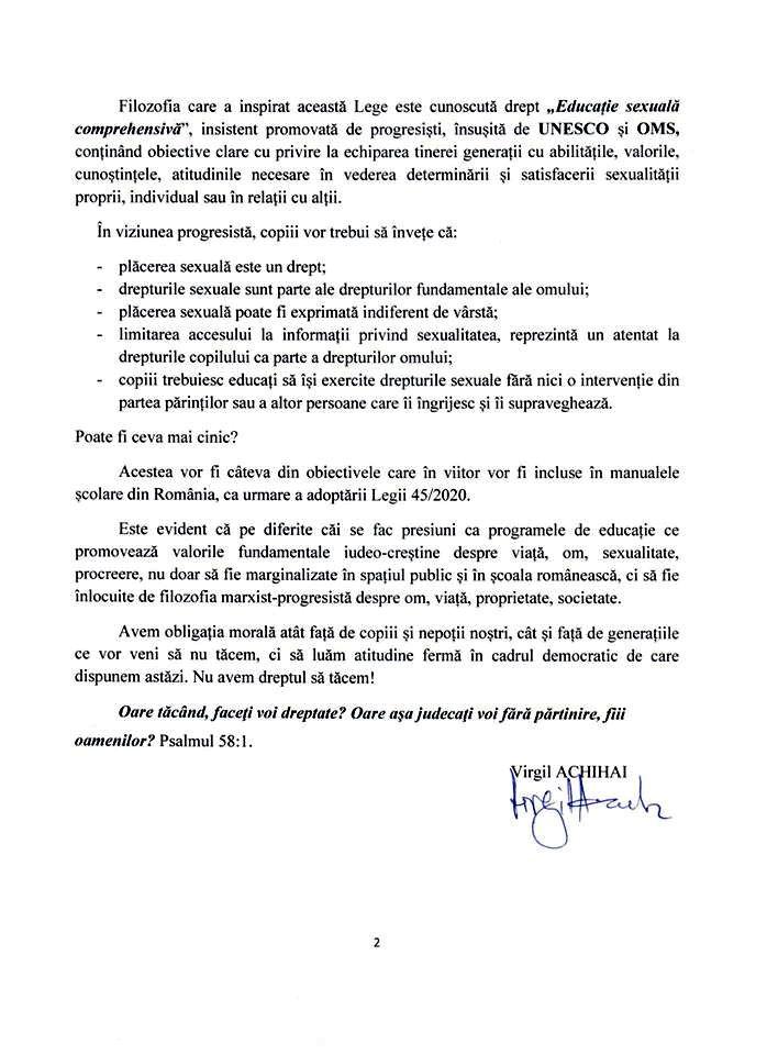 BISERICA CRESTINA DUPA EVANGHELIE - DECLARATIE PROTEST DESPRE IMPUNEREA EDUCATIEI SEXUALE PENTRU COPII IN SCOLI (PARTEA II)